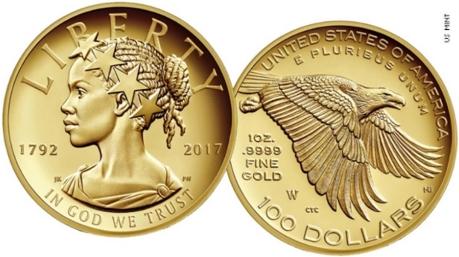 moneda de oro de la libertad estadounidense en su aniversario número 225